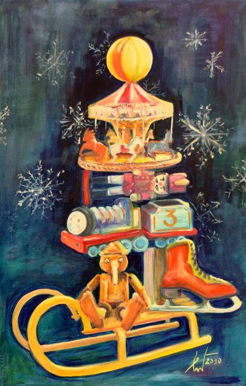 DREAM CHRISTMAS TREE large oil  65X100 - Image 0