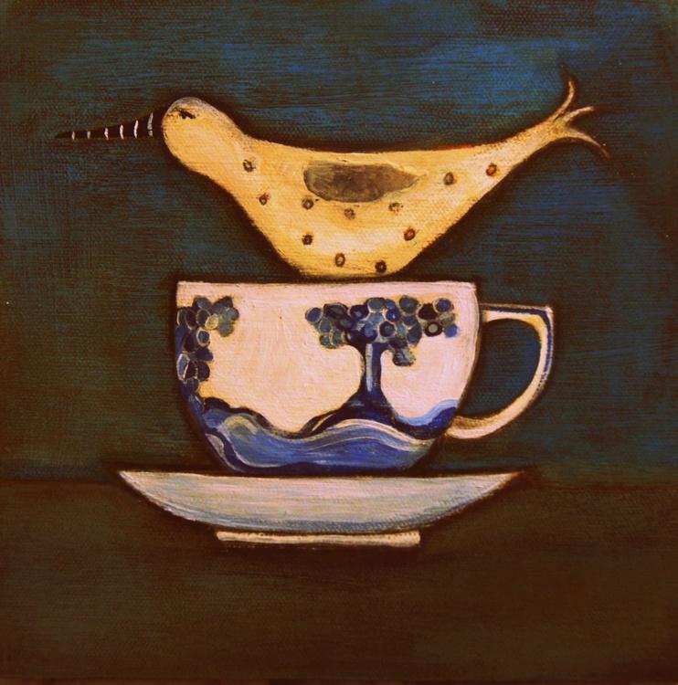 Bird In A Blue Spode Tea-Cup.. - Image 0