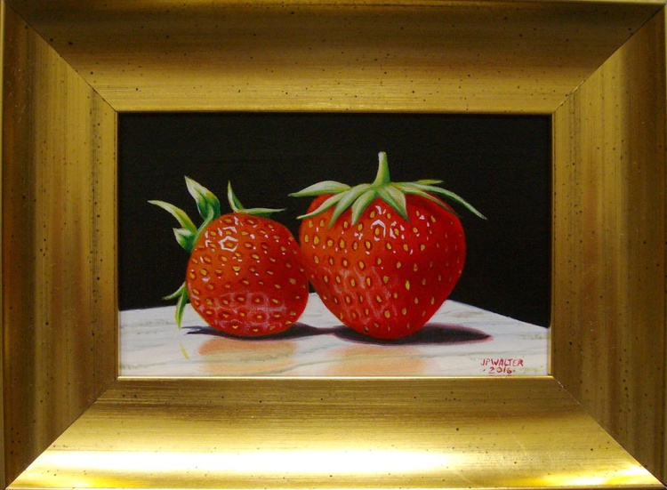 2 strawberries on marble - Image 0