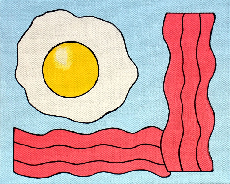 Fried Egg And Bacon Pop Art Painting On Canvas - Image 0