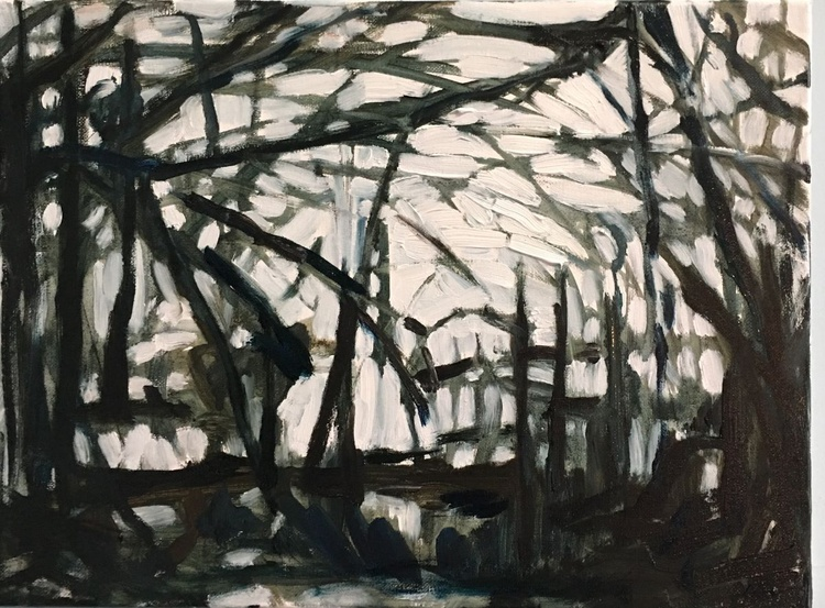 Winter Branches, small oil on canvas - Image 0