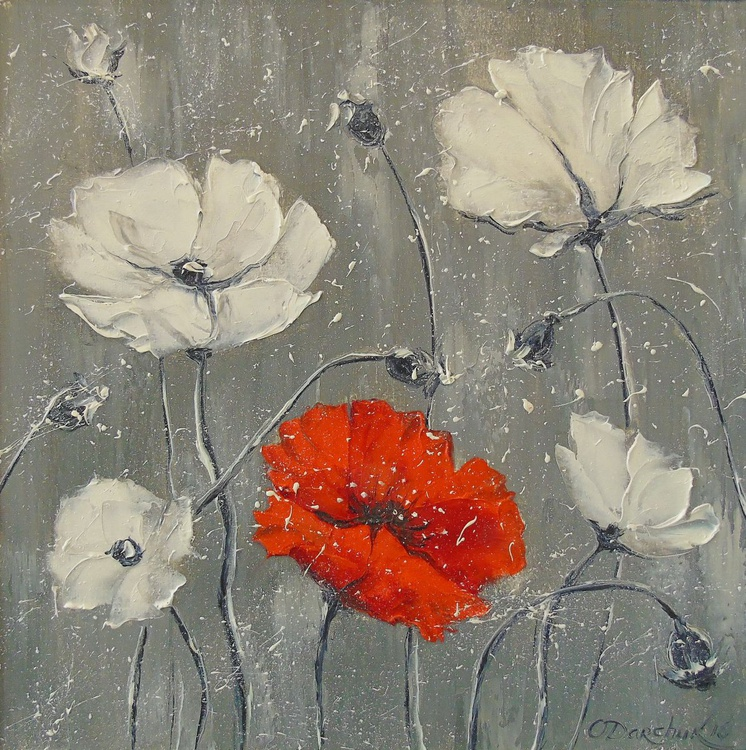 White and red poppies - Image 0