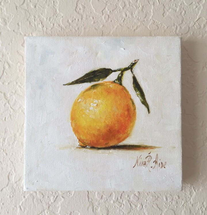Lemon With Leaves On Stretched Canvas - Image 0