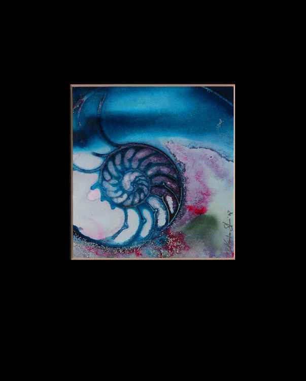 Sea Shell Watercolor Painting, Ocean, - Nautilus Shell No.70