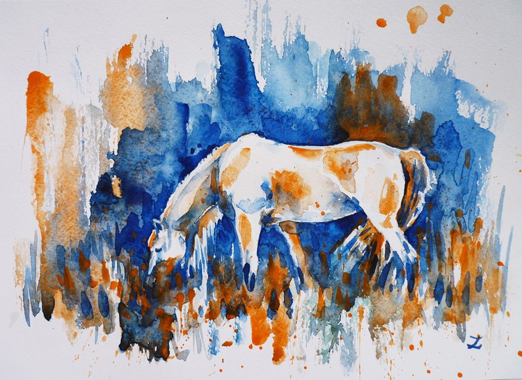 White Horse on a Quiet Meadow - Image 0