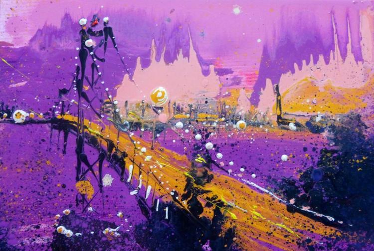 Evening bridge, oil painting 30x20 cm - Image 0