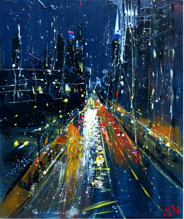 Night road, original painting 25x30 cm - Image 0
