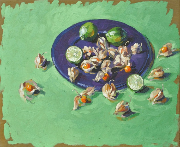 Physalis and limes on a blue platter - Image 0