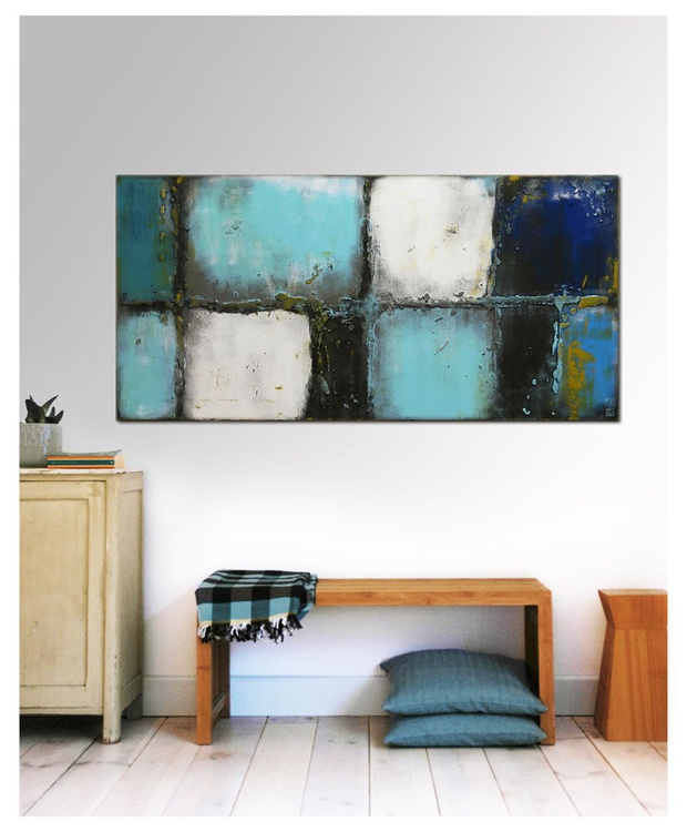 Abstract Painting - Lots Turquoise - C14 - Image 0