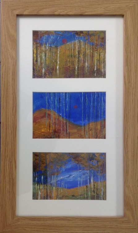 Autumn Blue - The Birch Wood  (framed triptych) - Image 0