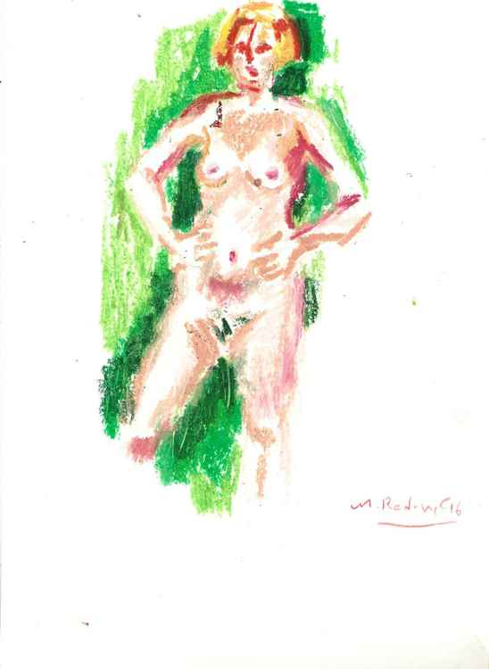 Nude in green -