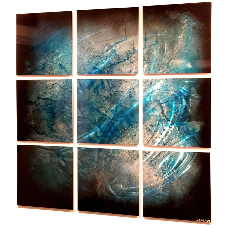 Whirlwind | Metallic Blue Contemporary Metal Art - Image 0