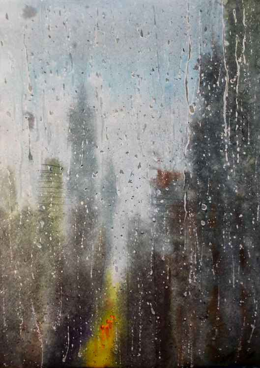 Rain outside the window, watercolor paint on paper 30x42 cm -