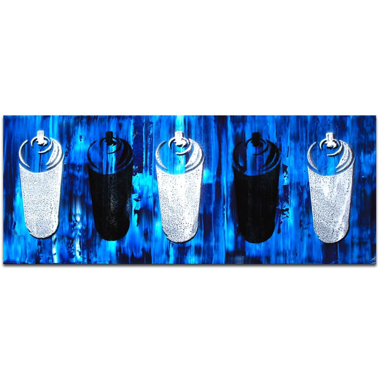 Mendo Vasilevski 'Graffiti Homage in Blue' Contemporary Metal Wall Art Giclee - Image 0