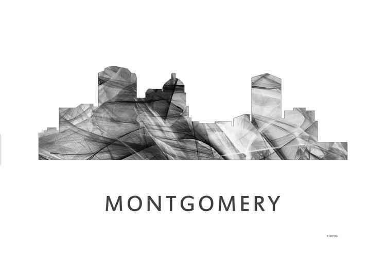 Montgomery Alabama Skyline WB BW -