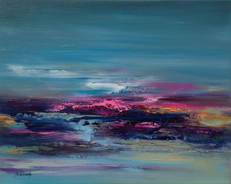 Dreaming of Colours - 40 x 50 cm, abstract landscape oil painting, turquoise, orange, pink - Image 0