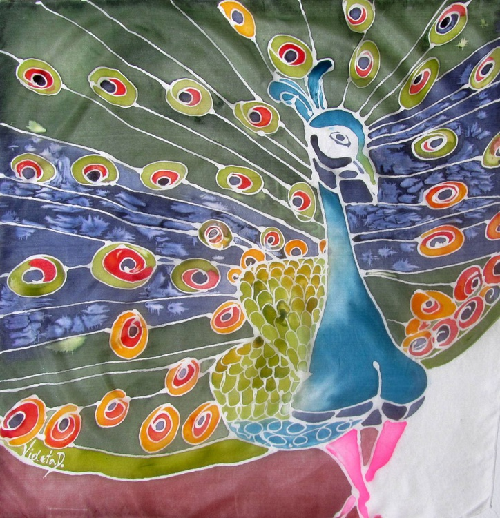 SILK painting: The Peacock - Image 0