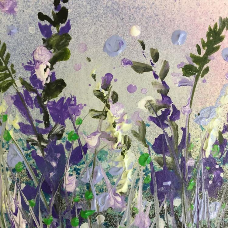 Blue flowers, box framed miniature - Image 0