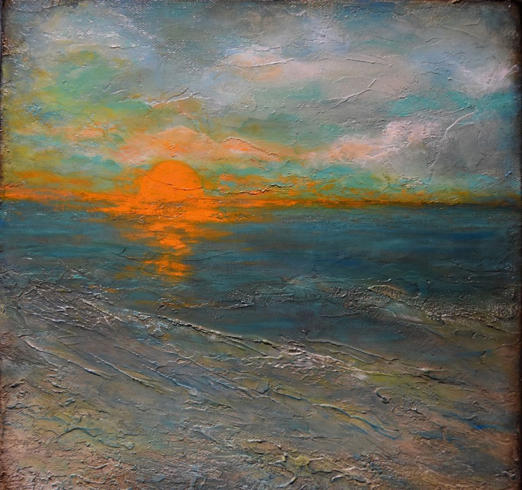 Sunset over teal waters - Image 0