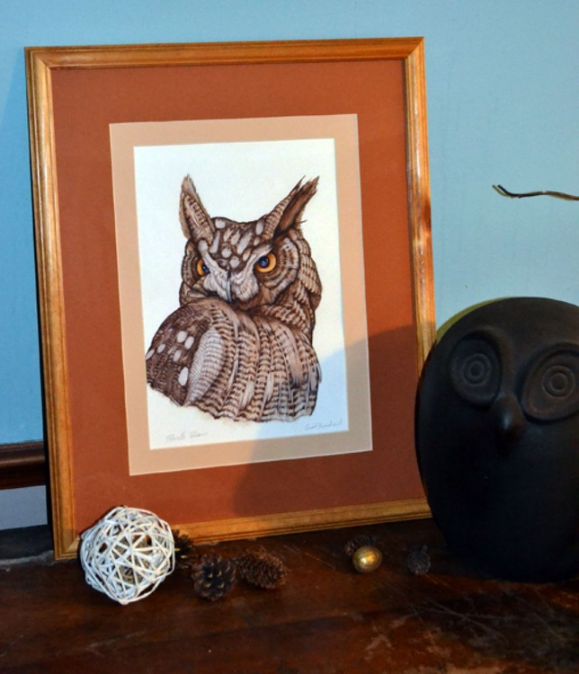 """Watercolour Painting, Owl. """" Horned Owl"""" - Image 0"""
