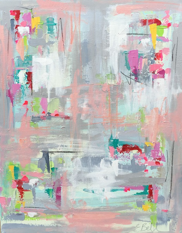 """Abstract in Acrylic 'Reflections' 30""""x24"""" - Image 0"""