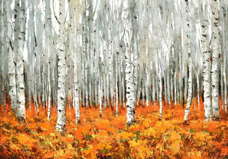 "October forest  - oil ac. Painting with Palette Knife on Canvas by Dmitry Spiros. Size: 28""x40"" (70 cm x 100 cm) - Image 0"