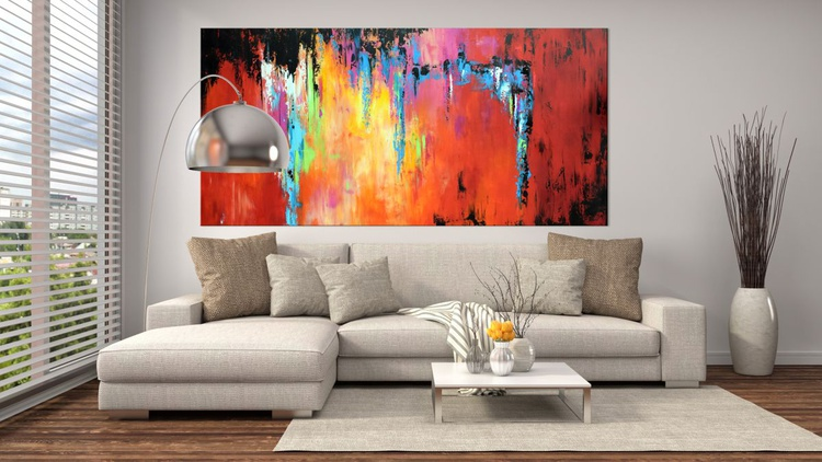 """""""Changing Seasons"""" Large Abstract Colorful Art Painting, Colorful Original Contemporary modern Blues,Reds, Oranges,  Pallete Knife - Image 0"""