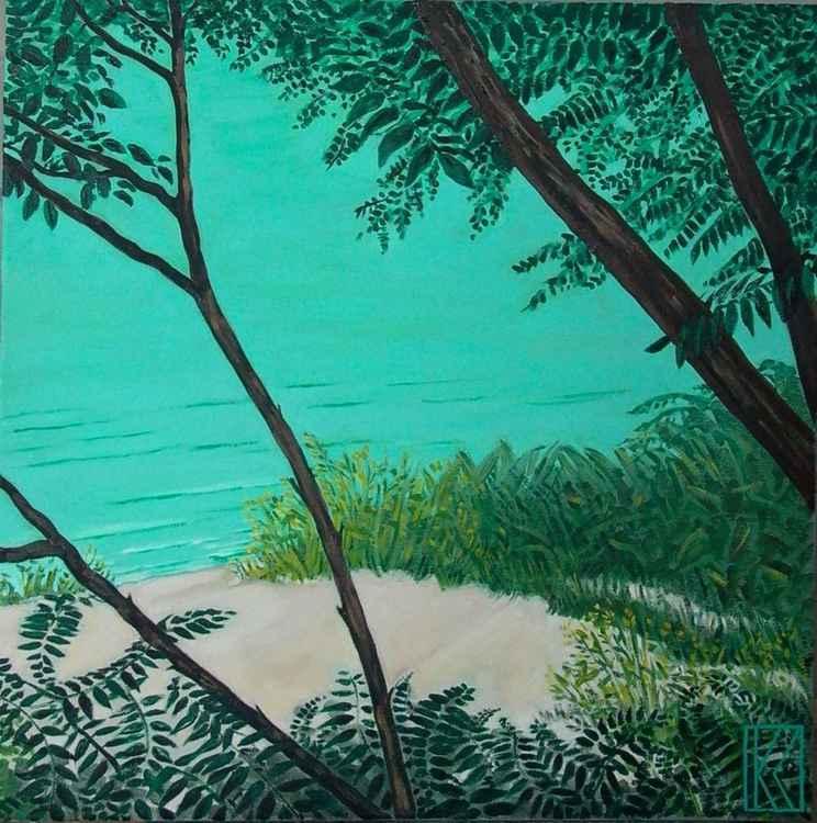 Turquoise Sea Through Trees -