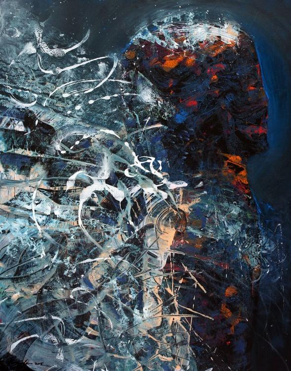 BLUE ANGEL SPIRITUAL ECLECTIC BIZZARE ONIRIC MASTERPIECE BY OVIDIU KLOSKA UNIQUE TEHNIQUE AND VISION - Image 0