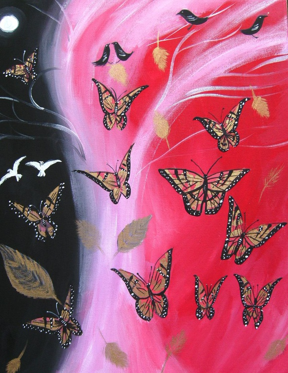 Butterflies on red - Image 0