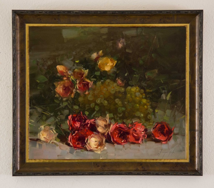 Roses  Original oil painting  Handmade artwork Framed Ready to Hang One of a kind - Image 0