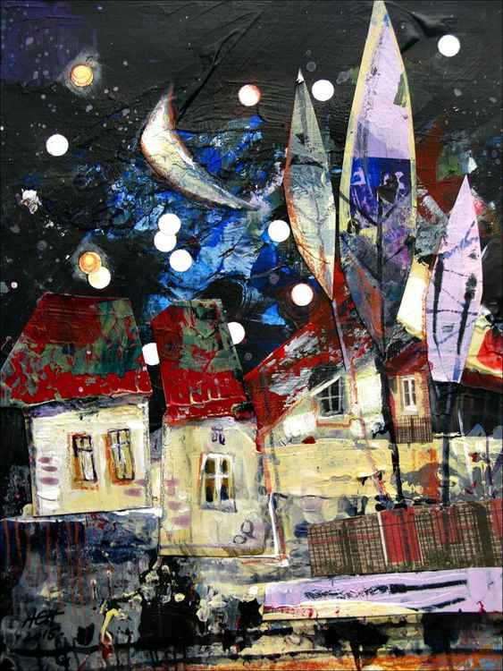 miniature collages houses in the night cottage acrylic original illustration