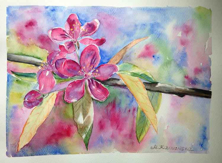 Original one of a kind watercolor artwork - Blooming wild apple tree branch -