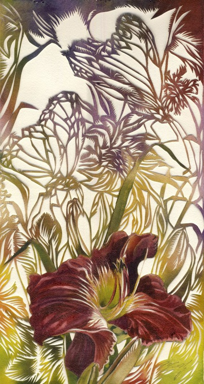 red daylily with butterfly watercolor with paper cut - Image 0