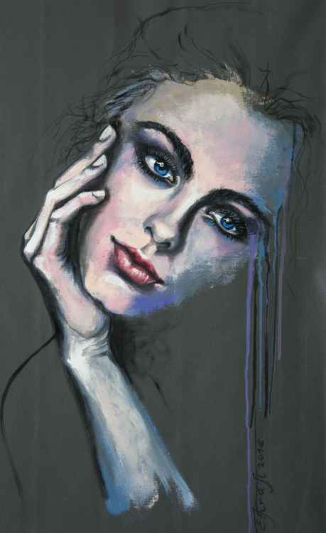 """Sensual girl"", original acrylic painting, 50x75 cm, ready to hang -"