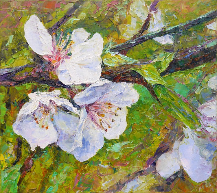 Cherry Blossoms! (palette knife) Macro view - Image 0