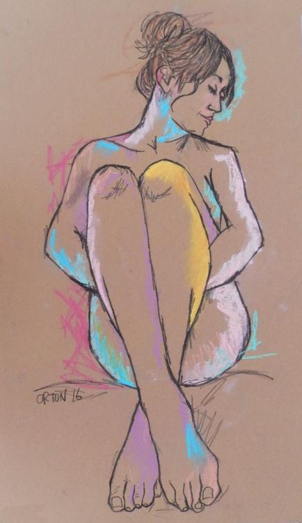 Nude Art Seated Female Nude Pastel Life Drawing Figure Study - Image 0