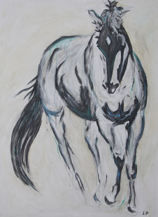 Pete-Horse painting with cerulean blue and teal - Image 0