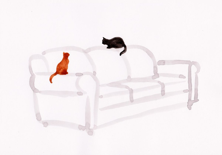Two cats on a couch 2130A - Image 0