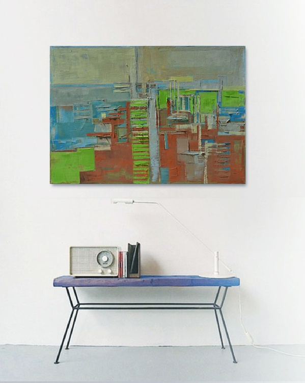 "Large canvas art 39.37/27.5(100/70cm). ""Layer city II"" - Image 0"