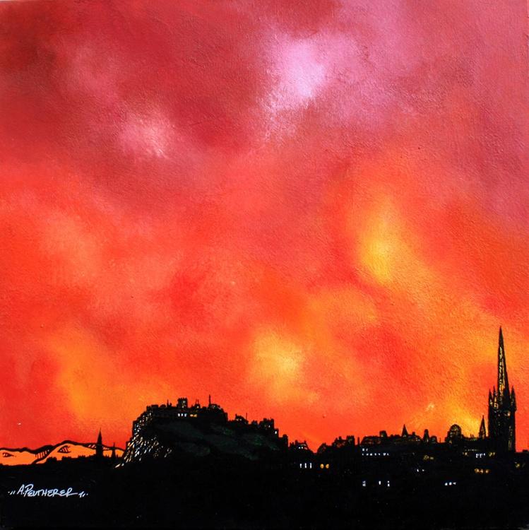 Edinburgh Summer Sunset, Scotland – An original Scottish painting. - Image 0
