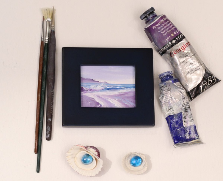Ocean Waves XXX small framed wave oil painting - Image 0