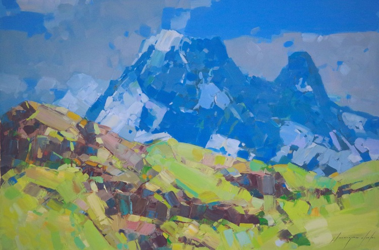 Landscape  Switzerland Alps Original oil painting One of a kind Signed with Certificate of Authenticity - Image 0