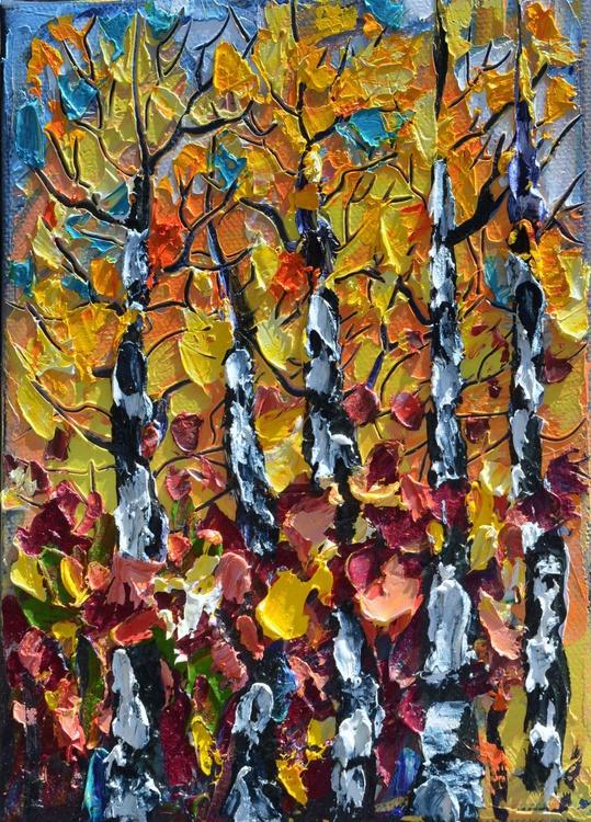 Mini Birch Trees # 2  (palette knife) - Image 0
