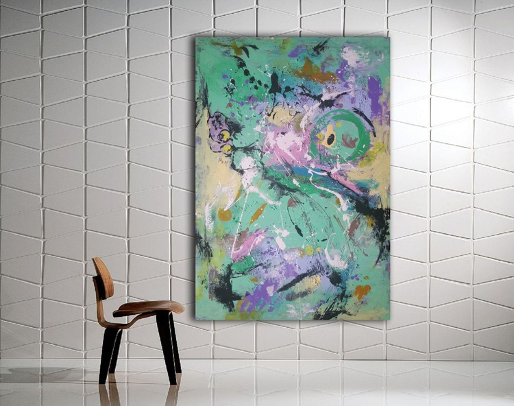 """45''x31""""( 115x80cm), Just Perfect 2 by Veronica Vilsan, minimalist  wall, house design, abstract painting, canvas art - Image 0"""