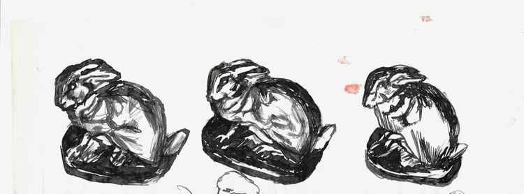 Study of bunnies, 29x6 cm -