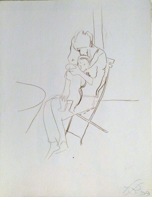 Mother and baby, sketch for a painting, 25x32 cm - Image 0