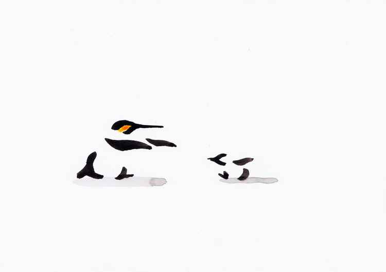 Penguin and a chick 2115A
