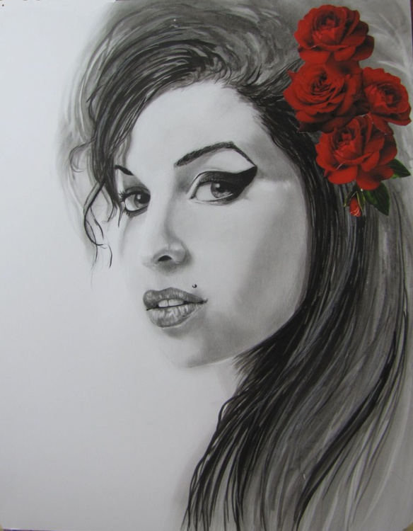 """"""" Amy Winehouse with roses"""" - Image 0"""