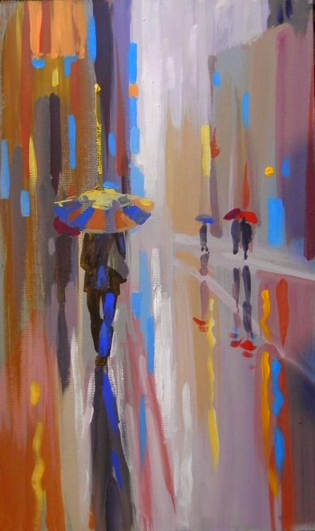 rain. original painting 18x30 cm - Image 0